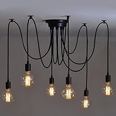 6 Heads Vintage Industrial Edison Ceiling Lamp Chandelier Pendant Light Fixture