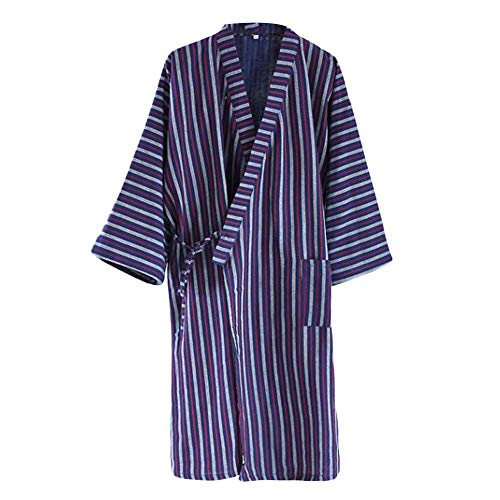 Pigeon Fleet Men's Japanese Style Yukata Stripe Kimono Home Robe Pajamas Dressing Gown, Blue