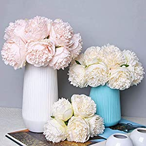 Lvydec Vintage Peony Artificial Flowers - 2 Pack Silk Flowers Bouquet 10 Heads Peony Fake Flowers for Wedding Home Decoration 2