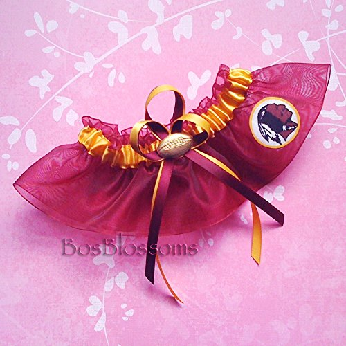 Customizable - Washington Redskins fabric handmade into bridal prom burgundy organza wedding keepsake garter with football charm