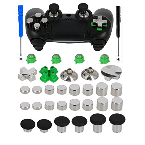 Magnetic Metal Bullet Buttons for PS4 Controller, YTTL Replacement Accessories Thumbsticks Thumb Grips Analog Stick + ABXY + D-pad for PS4 PS4 Slim/Pro games System Controller