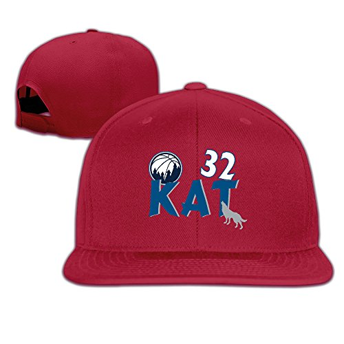 Price comparison product image LINNA Custom Unisex Minnesota #32 KAT Basketball Player Casual Hiphop Hats Caps Red