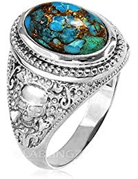 Sterling Silver Skull and Bones Blue Copper Turquoise Statement Ring
