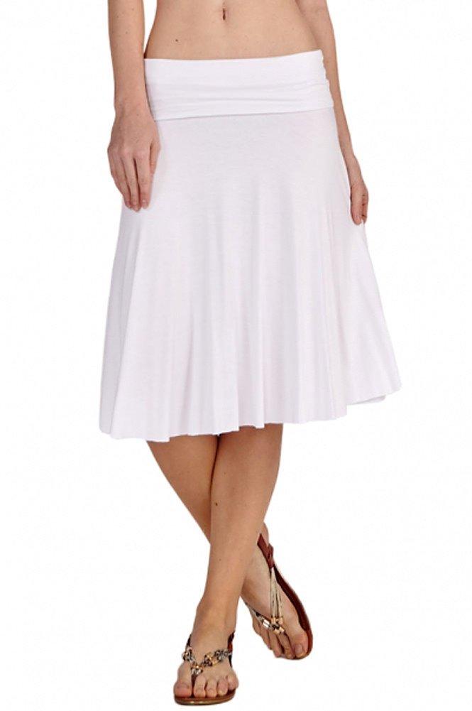 12 Ami Solid Basic Fold-Over Stretch Midi Short Skirt White Large