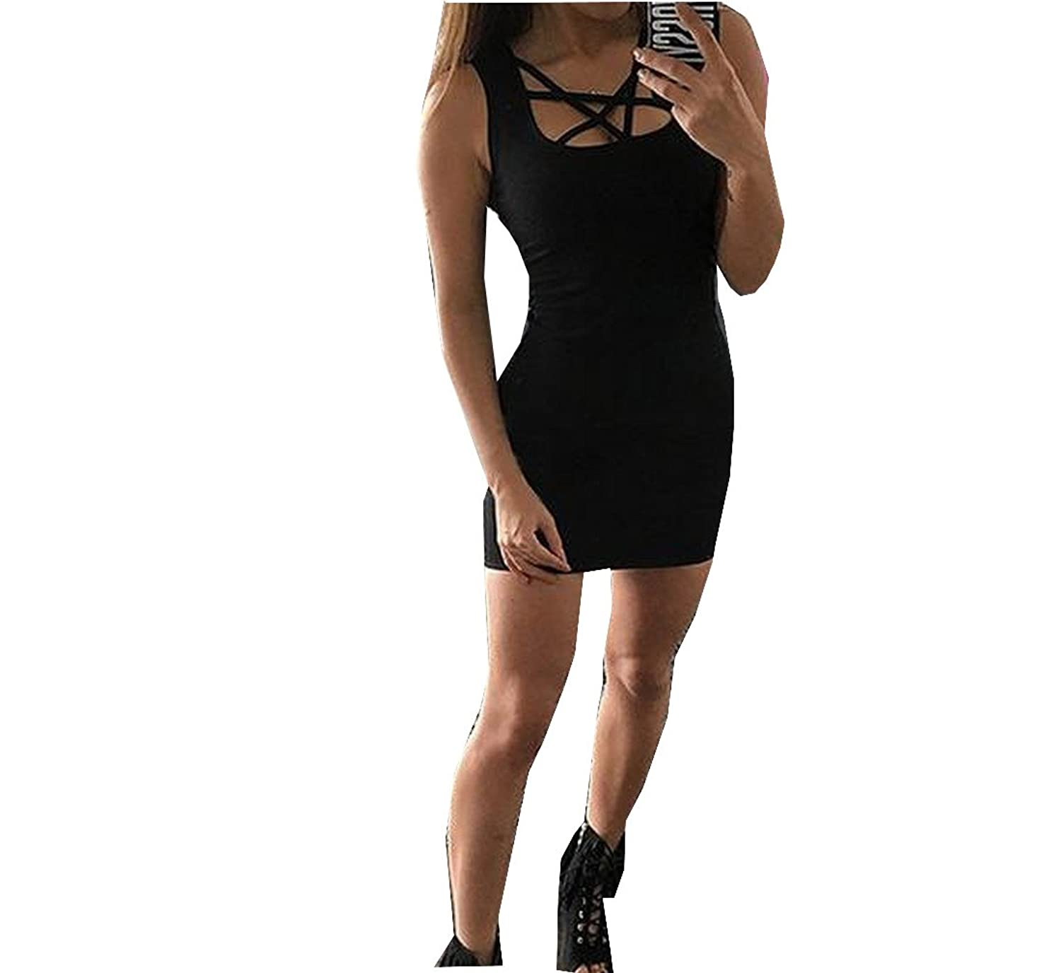 Winwinus Womens Chic Slim Fit Sleeveless Bangdage Bodycon Dress Black US XS