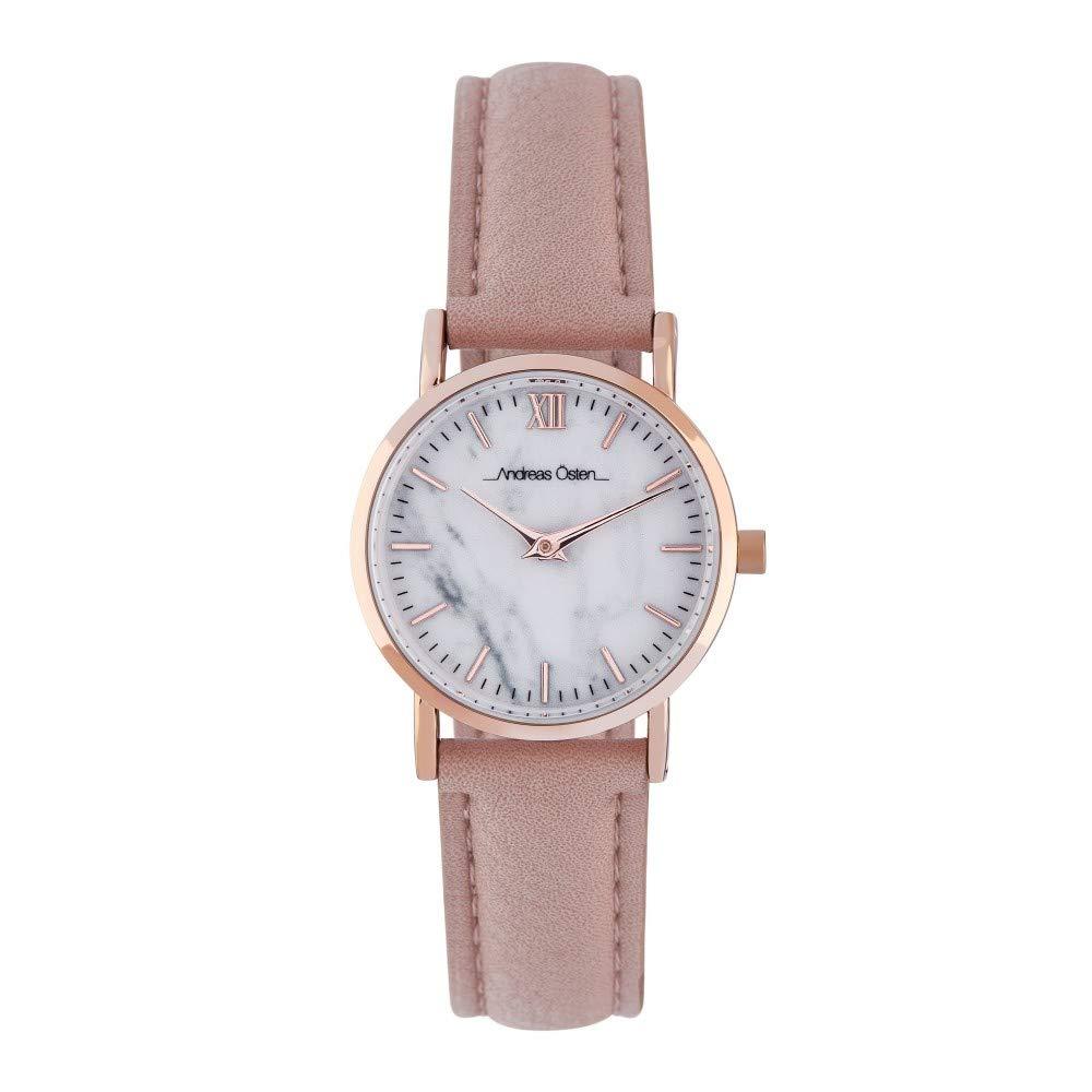 Montre Femme Andreas Osten à Quartz Cadran Blanc 26mm Et Bracelet Rose Gold En PU AOS18013