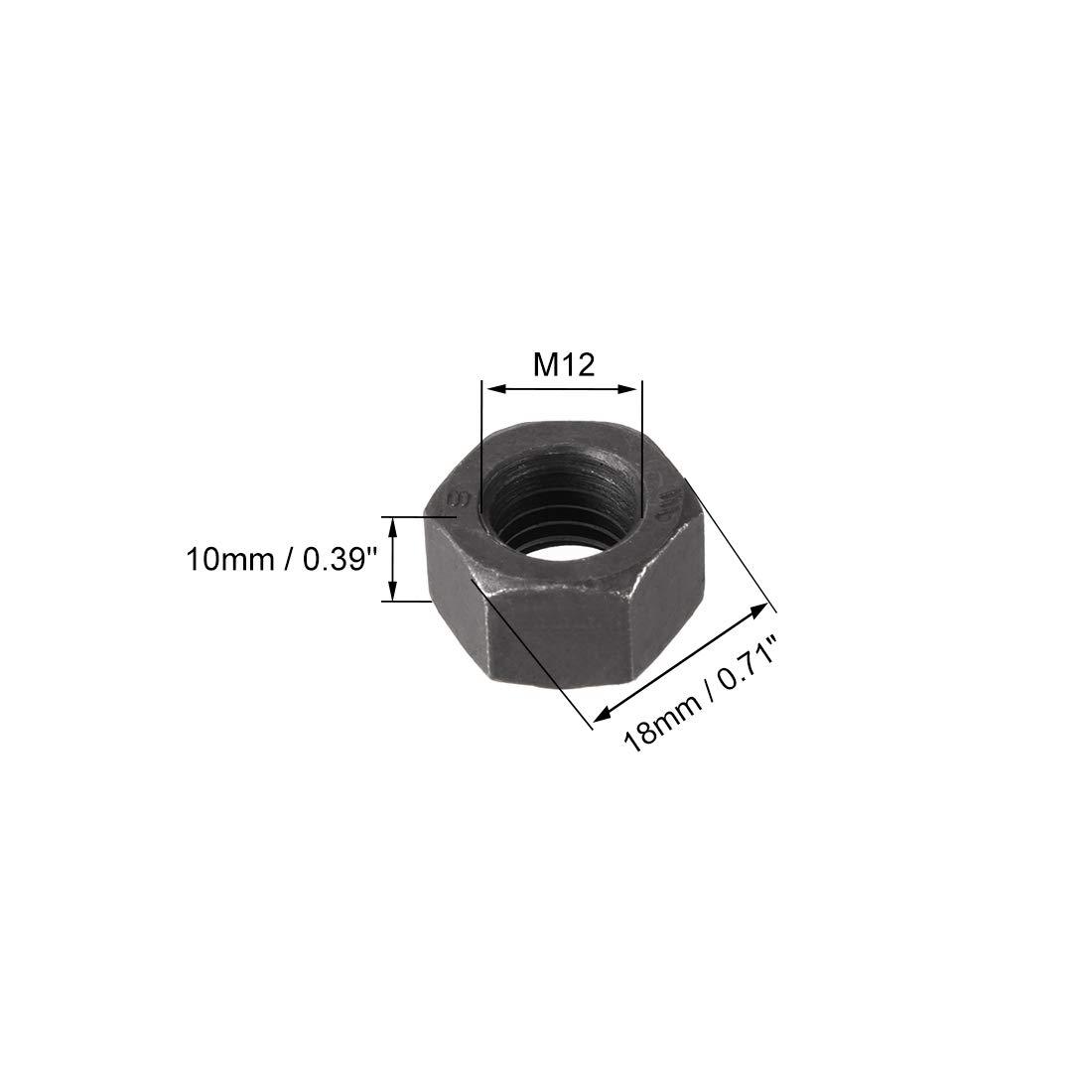 sourcing map 10 St/ück M10 Metrisch Carbon Stahl Kontermutter Sechskantmutter Muttern Schwarz
