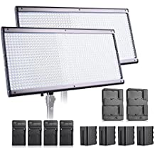 Pergear Lightmate Plus CRI 96+ 5500K Dimmable Ultra-thin Ultra-light 960 Led Photography Studio Video Light Panel with 6600mAh Batteries Pack - 2 Set