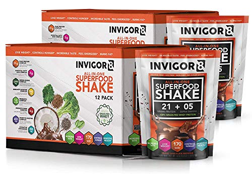 INVIGOR8 Superfood Shake Gluten-Free and Non GMO Meal Replacement Grass-Fed Whey Protein Shake with Probiotics and Omega 3 (645g) (Pouches (12-pk) Chocolate Brownie) (2 Pack Chocolate (Save 15)) by BRL (Image #7)