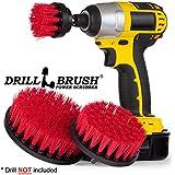 New Quick Change Shaft Stiff Bristle Nylon Round Scrub Brush Cordless Drill Powered 3 Brush Kit by Drillbrush