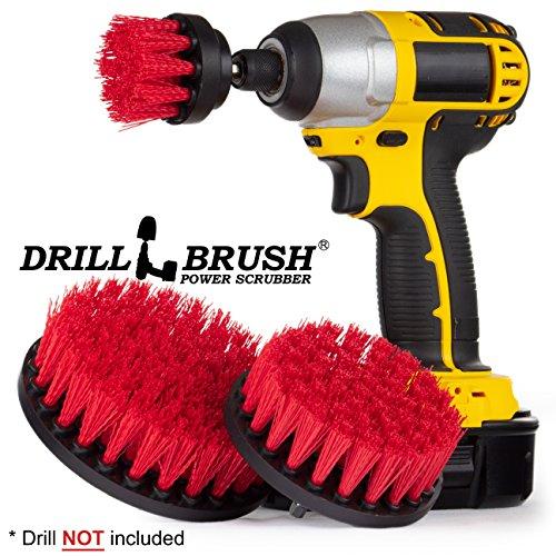 New Quick Change Shaft Stiff Bristle Nylon Round Scrub Brush Cordless Drill Powered 3 Brush Kit by (Cordless Drill Driver Review)
