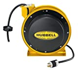 Hubbell Wiring Systems HBL45123C Industrial Power Cord Reel with Straight Blade Connector, 45' Cable Length, 12/3 SJEO Cable Type, 5-15R NEMA Style, 15 Amp, 125VAC