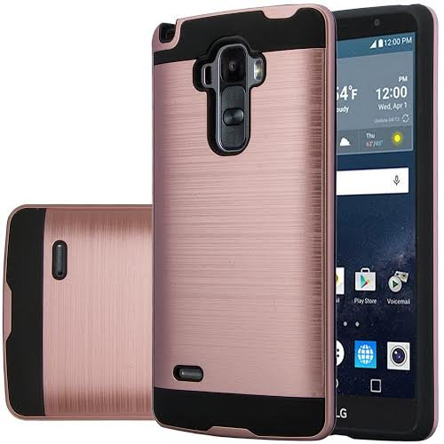Lg G Stylo  Vista 2 Case   Wydan  Tm  Hybrid Hard Shockproof Case Heavy Duty Protective Brushed Phone Resilient Protector Cover   Rose Gold On Black