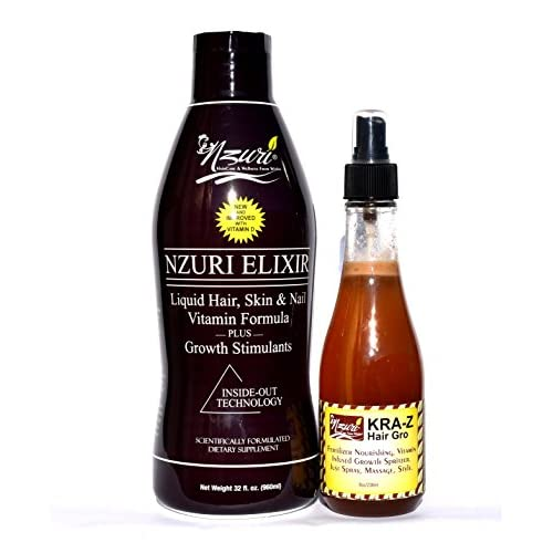 Nzuri Elixir Hair Skin & Nail Vitamin For Dry, Dull, Lifeless,Thinning, Breaking and Damaged Hair - 32 oz + Nzuri Hair Fertilizer Nourishing, Vitamin Infused Growth Spritzer 8oz Combo Pack