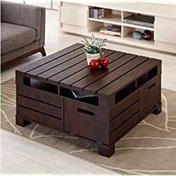 Crete Square Rustic Vintage Walnut Living Room Coffee or Tea Table with Storage