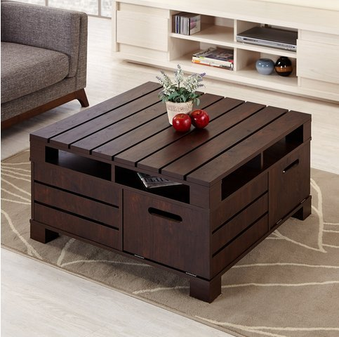 Crete Square Rustic Vintage Walnut Living Room Coffee or Tea Table with (Square Coffee Table With Storage)