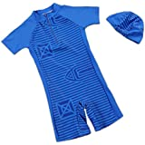 Eleanos Baby Boys 1 Piece Short Sleeve Sun Protection Rash Guard Swim Suit