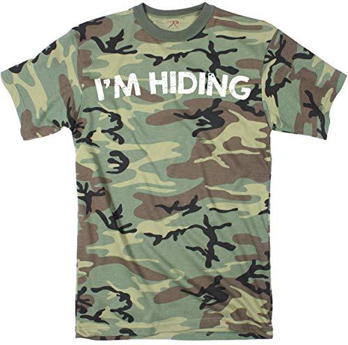 Crazy Dog T-Shirts Mens Im Hiding Camo Tee Shirt Funny Sarcastic Military Tee for Guys (Camo) - XL (Military Dog T-shirt)