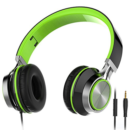 Headphones, Wackolee 015IP Headphones with Microphone for Smartphones Mp3/4 Laptop Computers Tab let Macbook Folding Gaming Earphones (Green)