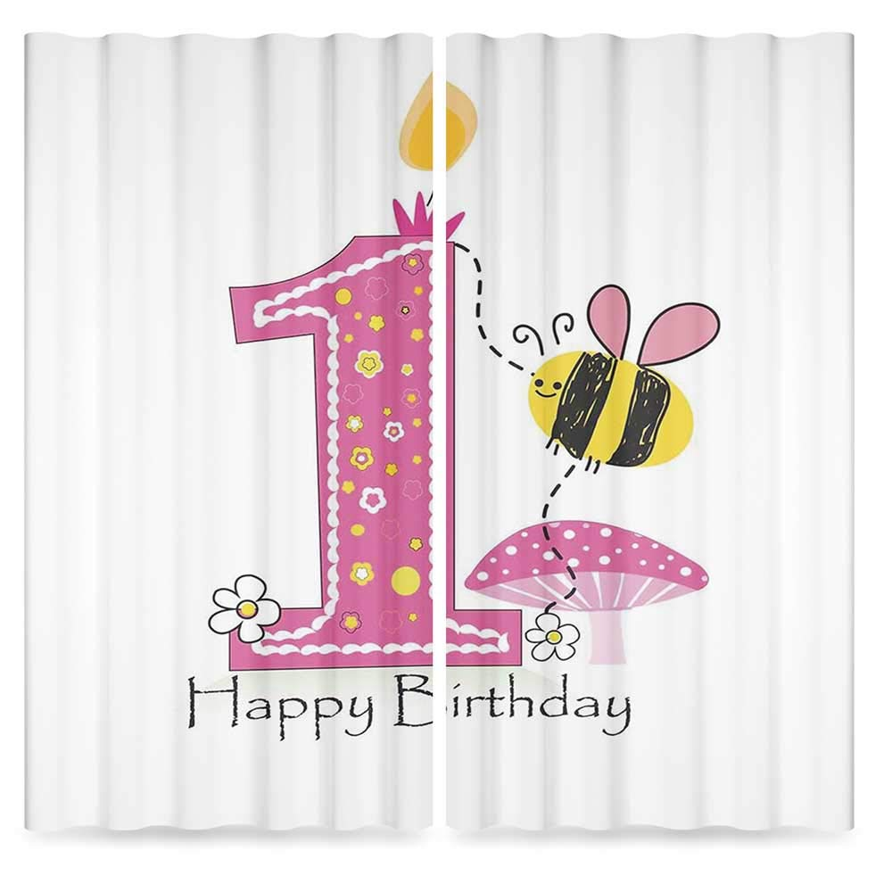 1st Birthday Decorations Blackout Curtains,Cartoon Like Image with Bees Party Cake Candle Print,Living Room Bedroom Window Drapes, 2 Panel Set, 28W X 39L Inches