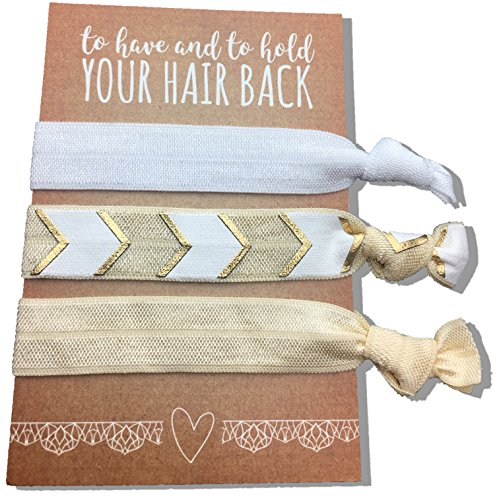 Jeune Marie 6 Pack Gold Ribbon Hair Ties KIT No Crease Elastics Handtied Ouchless Ponytail Holders Hair Band Bracelet Favors for Bachelorette Parties, Bridal Showers, and More! (6 Pack, Gold)