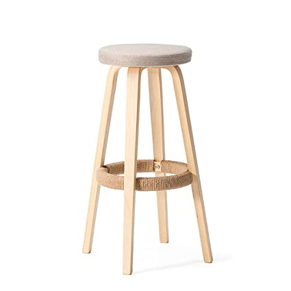 Amazoncom Zhen Guo Modern Wooden Round Bar Stool With Hemp Rope