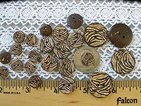 Animal Print Coconut Shell Buttons 2 Hole sew on 11MM 15MM or 22MM Knit Crochet Embellish Novelty Zebra Pattern Natural eco Friendly (10 Each 7/8