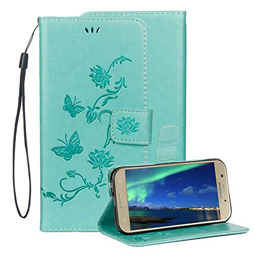 Price comparison product image Embossed Leather Case For Samsung Galaxy J3 2018, Samsung Galaxy J3 2018 Embossed Butterfly Lotus Flower PU Leather Wallet Soft TPU Flip Cover Magnetic Card Slot Holder With Detachable Hand Strap-Green
