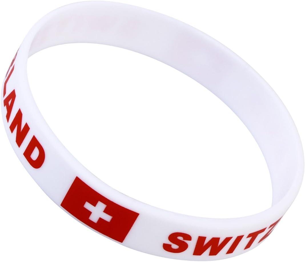 LUOEM Bracelets en Silicone Coupe du Monde drapeau France Pays Bracelet Supporter Football 2018/WM 6/morceaux France