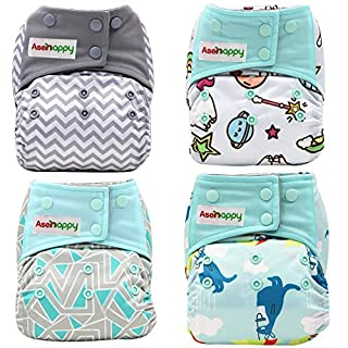 Asenappy Reusable Double Pockets Baby Cloth Diaper | 4 Diapers+ 4 Bamboo Inserts+ 1 Random Prints Bag (Color 2)
