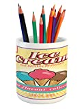 Lunarable Ice Cream Pencil Pen Holder, Summer Season Cold Sweets Shop Ad with Best Flavor Collection Slogan on a Stripe, Printed Ceramic Pencil Pen Holder for Desk Office Accessory, Multicolor
