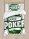 Poker Tournament Decorations Duvet Cover Set by Ambesonne, Let's Play Poker Stamp Royal Flush Grunge Vintage Full House, 2 Piece Bedding Set with 1 Pillow Sham, Twin / Twin XL Size, Green White