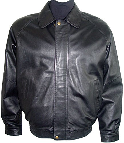 Paccilo 1026 Big Man Black Leather Bomber Jacket & Coats Silky Fabric Lining by Paccilo