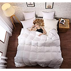 "SLEEP RHYTHM Luxurious Goose Down Comforter Queen Size, Duvet Insert, Medium Weight for All Season, Hypoallergenic,600 Thread Count, 750 Fill Power,100% Egyptian Cotton,White Color, Queen Size 90""90"""
