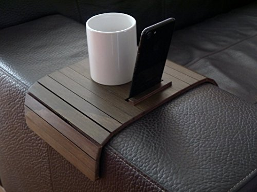 Wooden sofa armrest table with mobile stand in many colors as wenge Small flexible over the couch side tables Narrow folding dining settee slinky arm tray Armchair trays server drink