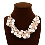 Elegant Faux Pearl Crystal Cluster Necklace, Gold White Pearl Deal (Small Image)