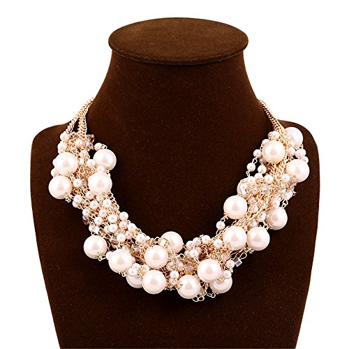 ux Pearl Crystal Cluster Collar Chunky Bib Necklace ()