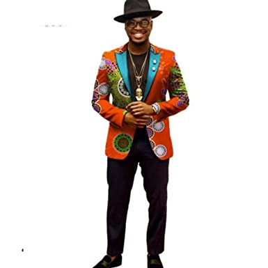 85d19f5080b Amazon.com  African Clothing For Men Long Sleeve Jacket Dashiki-Ankara  Print Blazer Top Only  Clothing