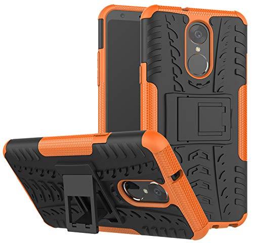 LG Stylo 4 Case, LG Q Stylus Case, LG Stylo 4 Plus, Yiakeng Dual Layer Shockproof Wallet Slim Protective with Kickstand Hard Phone Case Cover for LG Stylus 4 (Orange)]()
