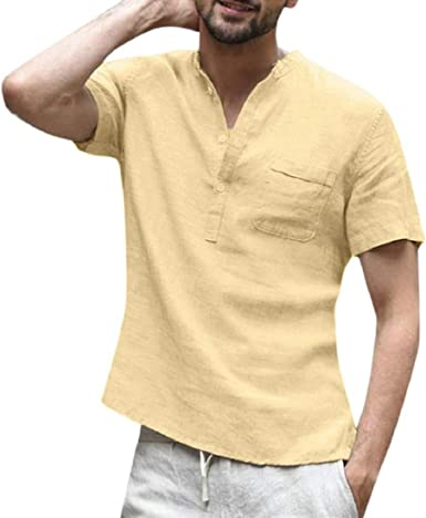 Camiseta Hombre Algodon Y Lino, Moda Casual Camisa Blusa Holgada De Manga Corta para Hombre Camisetas Retro Tops Blusa: Amazon.es: Ropa y accesorios