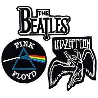Set_ROCK010 - Parche Pink Floyd, parches The Beatles Band y parches Led Zeppelin, parches de metal pesado de 3 piezas, parches bordados de apliques - banda de rock de hierro en parches