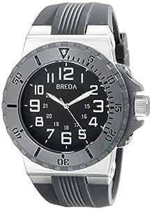 Breda Men's 9302-Grey Clinton Tachometer Brushed Metal Grey Sport Watch