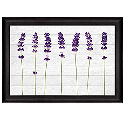 Charming Technique, Professional Creation, Row of Purple Flowers Over White Wooden Panels Nature Framed Art