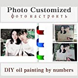 QIANDONG1 Photo Customized Your Own DIY Oil Painting by Numbers Picture Drawing Canvas Portrait Wedding Family Cute Baby Photos,Framed,50x50cm