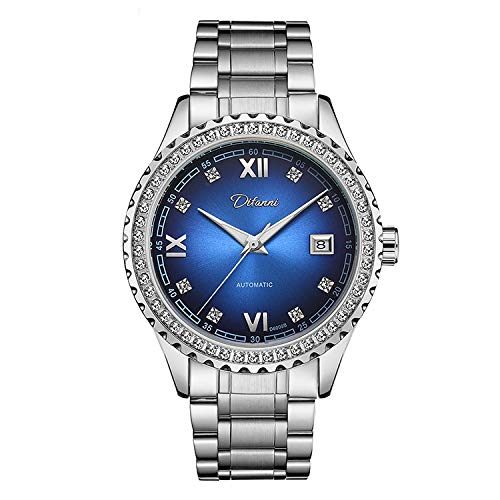 ALXDR Men's Automatic Mechanical Watch Unique Diamond Inlay Bezel Dial Stainless Steel Band Wrist Watch Fine Steel Strap,BlueDial