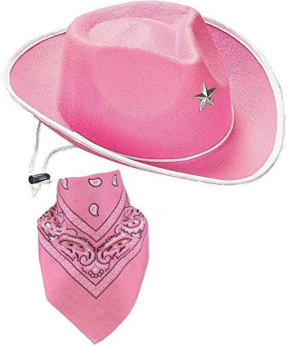 Quality Child Cowboy Costume Hat WithFREE Cotton Paisley Bandanna - Funny Party Hats TM (Pink Star Cowgirl Hat with Pink Paisley (Cowgirl Accessories)