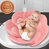 IndulgeMe Baby Bath Cushion - Konjac Sponge Included, Blooming Flower for Infant Bathing Tub, Bathtub or Plastic Sink Bather, Organic Baby Bath Seat Support for Newborn Skin. Pink