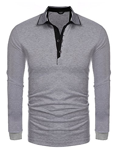 Coofandy Men's Short Sleeve Casual Striped Collar Classic Fit Polo Shirts (X-Large, Grey(long - Long Mens Pullover Sleeve