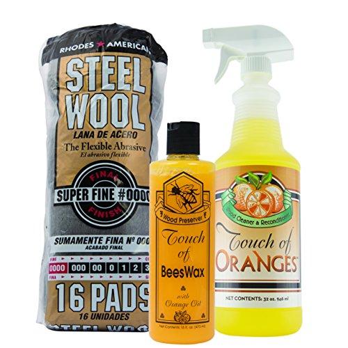 (Orange Wood Cleaner & Wood Preserver & Steel Wool 0000 Grade, Hardwood Cleaner, Clean Kitchen Cabinets, Wood Floor Restorer, Wood Table Cleaner, Restore (32oz Cleaner & 16 oz Preserver))