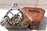 Handmade Triangular Sundial Compass With spirit level, lockable direction point. C-3012